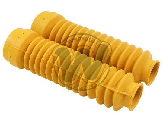 Fork Gaiters 215mm Long 32mm And 47mm - Yellow - Yamaha DT 125
