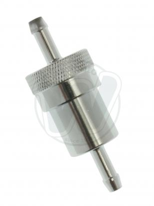 Picture of Fuel Filter Inline Round Chrome 6mm Inlet and Outlet