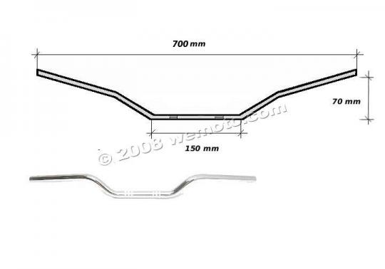 Picture of Handlebar 22mm (7/8 Inch) Chrome 2.75 Inch Rise - 700mm Wide - Replica Honda CB250N CB400N