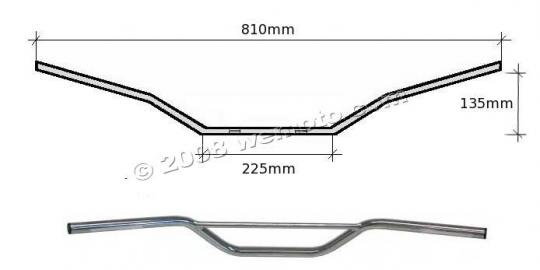 Picture of Handlebar 22mm (7/8 Inch) Chrome 5.30 Inch Rise - 810mm Wide - As Yamaha XT500 - With Welded Cross Bar