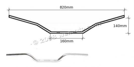 Picture of Handlebar 22mm (7/8 Inch) Chrome 5.50 Inch Rise - 780mm Wide - Replica Yamaha SR500 81