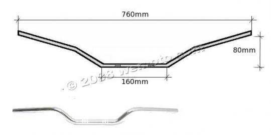 Picture of Handlebar 22mm (7/8 Inch) Chrome 3.10 Inch Rise -  750mm Wide - Replica Yamaha XJ550