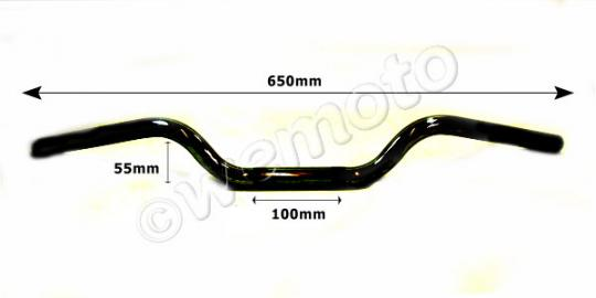 Picture of Handlebar 22mm (7/8 Inch) Black 2.25 Inch Rise - 650mm Wide - Yamaha RD250/350 LC