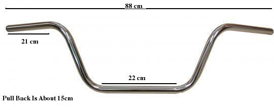 Picture of Handlebar 22mm (7/8 Inch) Chrome 8.00 Inch Rise - 880mm Wide - Western Style