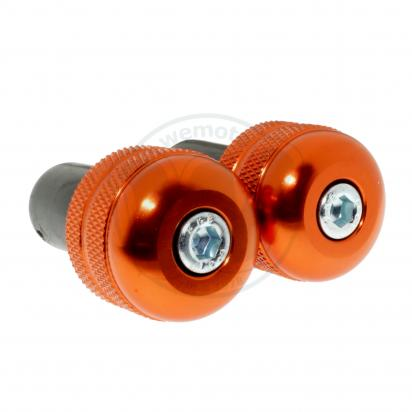 Motorcycle Universal Handlebar End Weights - knurl Style - 17.5 mm - Orange