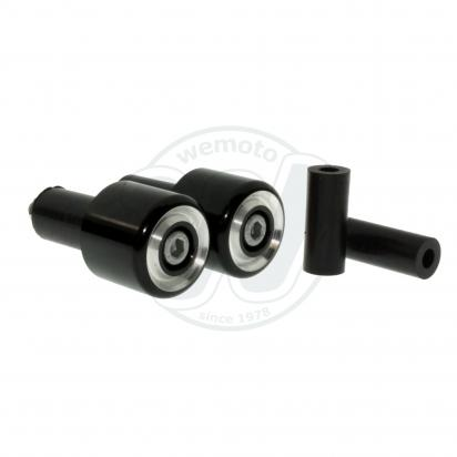 Motorcycle Universal Handlebar End Weights - Beveled Style - 17.5 mm or 12 mm - Black