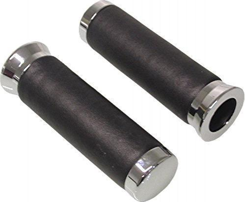 Handlebar Grips 7/8 inch (22 mm) Leather and Chrome
