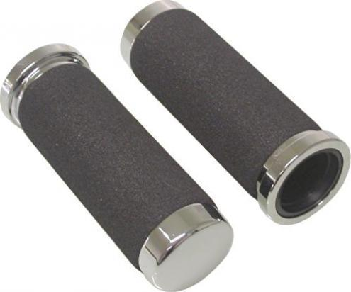 Picture of Handlebar Grips Foam Black Chrome Ends to fit 1 inch Handlebars