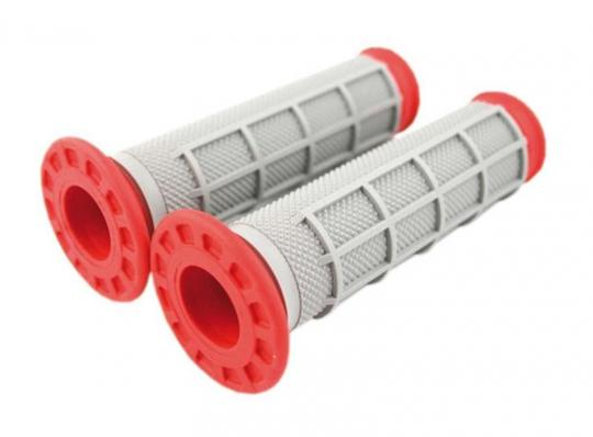 Picture of Renthal Handlebar Grips - ATV Type - Dual Compound-  Red/Grey