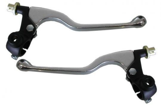 Picture of Universal Brake and Clutch Lever Assembly Alloy Dog Leg, Mirror boss and Cable adjusters