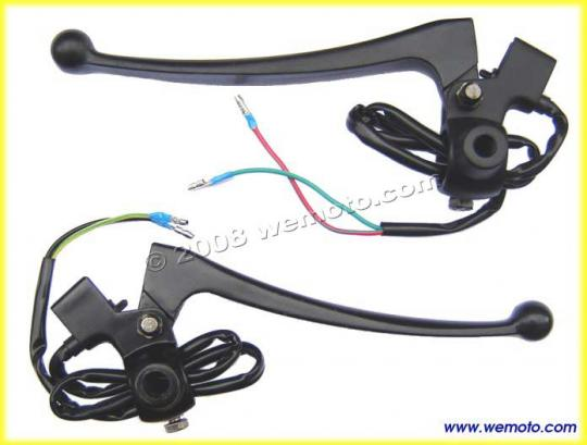 Picture of Universal Brake and Clutch Lever Assembly Black  Mirror boss and Switches