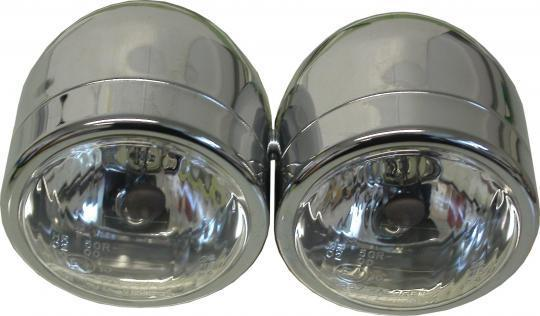 Picture of Headlight Bates Style Custom Complete 4.5 Inch Chrome Twin Mini  - (E Marked) Side Mounted