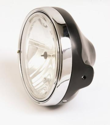 Picture of Headlight 7 inch, H4, Black, Clear Lens, German E-mark