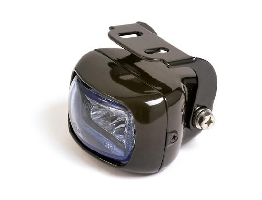 Picture of Fog Light Square Black Aluminium Housing With Bracket Blue Lens E-marked