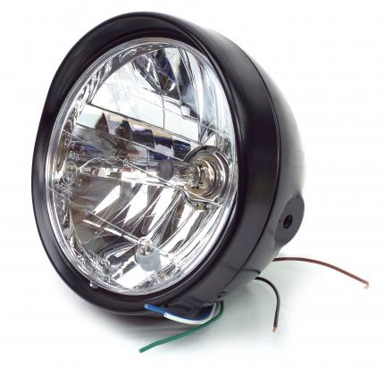 Picture of Complete Headlight - 7 Inch - Black With Visor