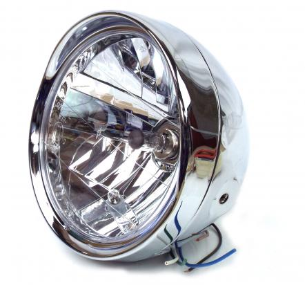 Picture of Complete Headlight - 7 Inch - Chrome With Visor