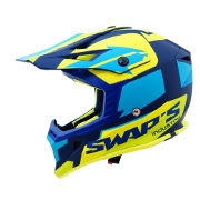 Swaps S818 Motocross Helmet - Matt Blue and Fluo Yellow