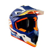 Orange Blue and White Swaps Motorcross Helmet