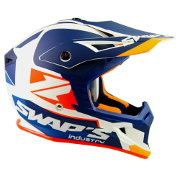 Swaps S818 Motocross Helmet - Matt White, Orange and Blue