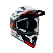 Red Black and White Swaps Motorcross Helmet