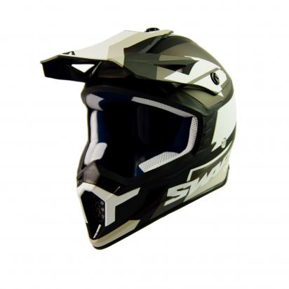 Picture of Swaps S818 Motocross Helmet - Medium 57 to 58 - Matt Black and White