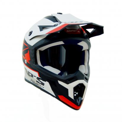 Picture of Swaps S818 Motocross Helmet - Medium 57 to 58 - Matt Black, Red And White