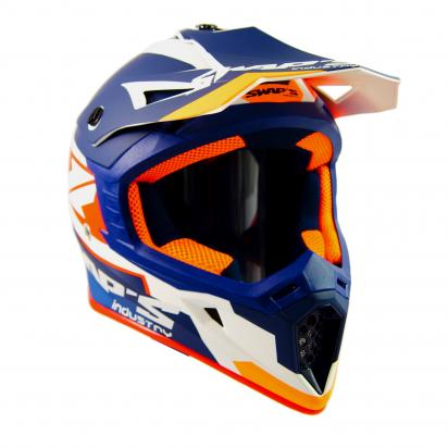 Picture of Swaps S818 Motocross Helmet - Large 59 to 60 - Matt White, Orange and Blue