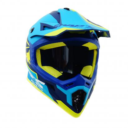 Picture of Swaps S818 Motocross Helmet - Small 55 to 56 - Matt Blue and Fluo Yellow