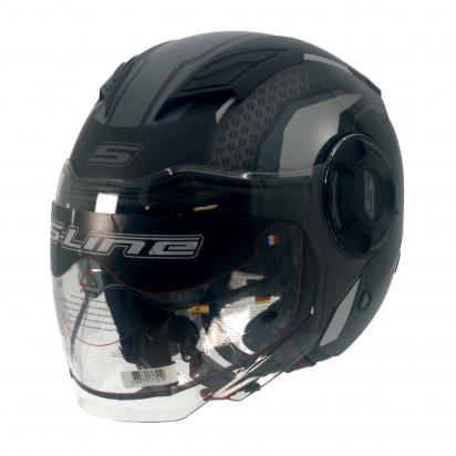 Picture of S-Line S749 Open Face Helmet - Double Visor - Small 55 to 56 - Matt Black And Grey