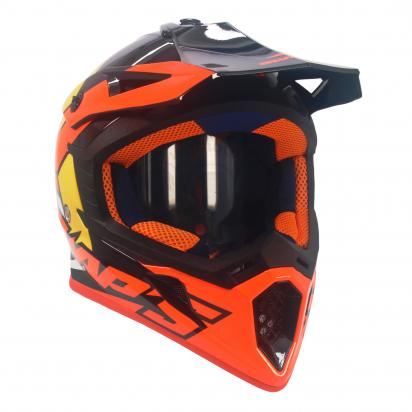 Picture of Swaps S818 Motocross Helmet - Medium 57cm to 58cm - Gloss Black Orange White And Yellow