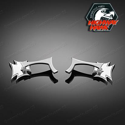 Picture of Mirrors Chrome Pair Gothic by Highway Hawk with adaptor 10mm Right & Left Thread