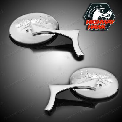 Picture of Mirrors Chrome Pair Tribal by Highway Hawk with adapter 10mm Right & Left Thread