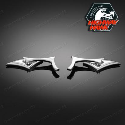 Picture of Mirrors Chrome Pair Razorback  by Highway Hawk with adaptor 10mm Right & Left Thread