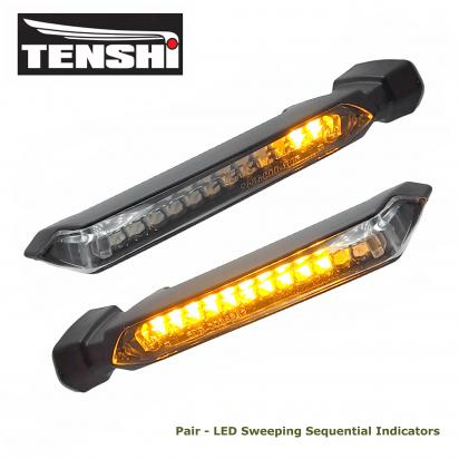 Picture of Indicator Pair - Black Motorbike LED Sweeping Sequential Indicators E-marked - Clear Lens