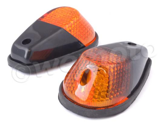 Picture of Indicator Pair - Fairing - Black with Amber Lens - Small