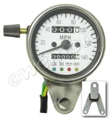 Picture of Speedo 60mm White face with luminous lighting warning lights - with rubber mount