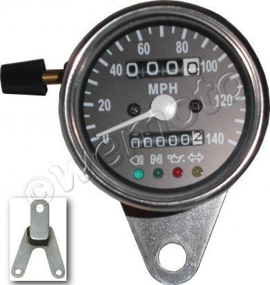 Picture of Speedo 60mm Black face with luminous lighting warning lights - with rubber mount