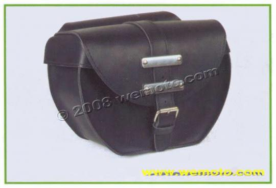 Picture of Saddle Bags - Pair Black Leather With Stainless Steel Embellishments - Ohio II  (36x28x15cm)