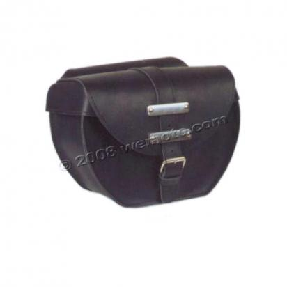 Picture of Saddle Bags - Pair Black Leather With Stainless Steel Embellishments - Ohio I  (36x28x15cm)