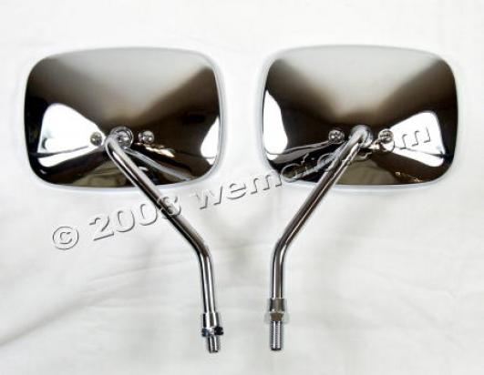 Mirror 10mm - Pair - Chrome Square - Aprilia / Scarabeo / Habana / Yamaha