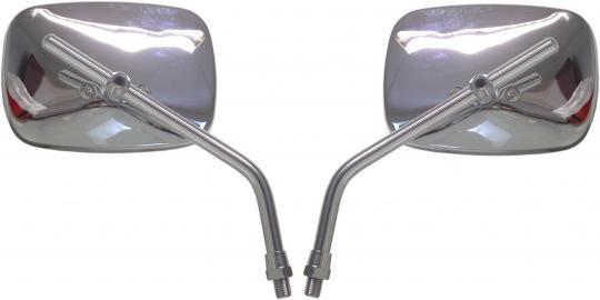 Mirror 10mm - Pair - Chrome Rectangle - Left & Right Side - Harley Style