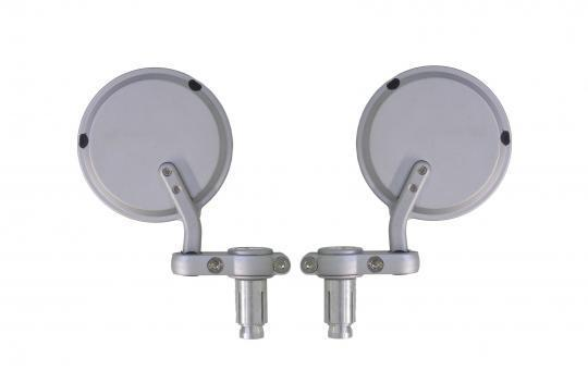Mirror Bar End - Pair - Silver Round