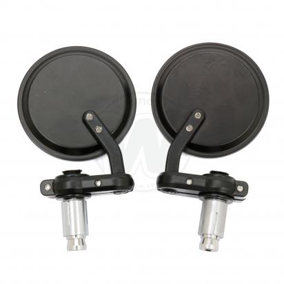 Picture of Motorcycle Bar End Mirrors Aluminium Round Black For 13.3mm or 17mm Holes