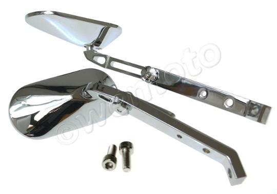 Mirror Custom Chrome Square Adjustable Pair
