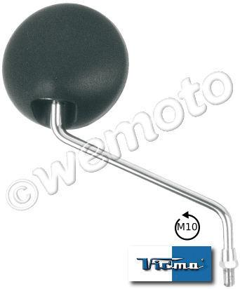 Mirror 10mm - Black Round & Chrome Stem - Right Side - Left Hand Thread