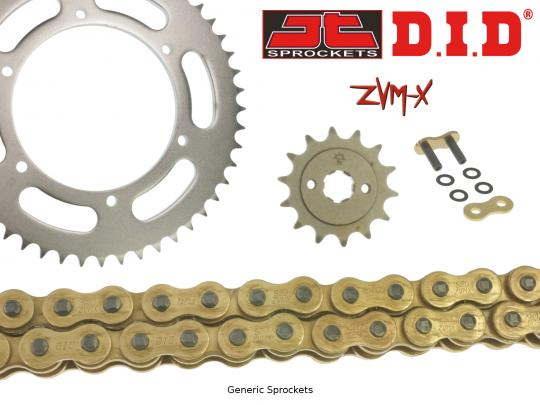 DID ZVM-X Super Heavy Duty X-Ring Gold Chain and JT Sprocket Kit