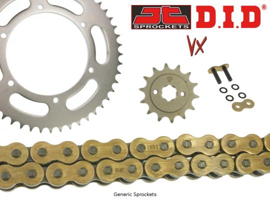 Picture of DID VX Heavy Duty X-Ring Gold and Black Chain and JT Sprocket Kit