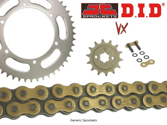 DID VX Heavy Duty X-Ring Gold and Black Chain and JT Sprocket Kit