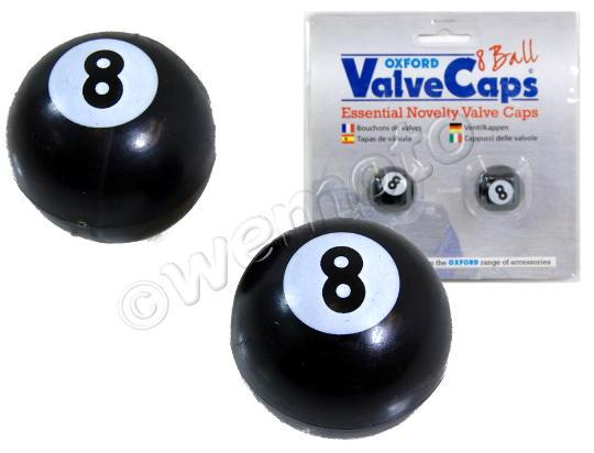 Picture of Valve Caps -Oxford 8 Ball Black - Pair