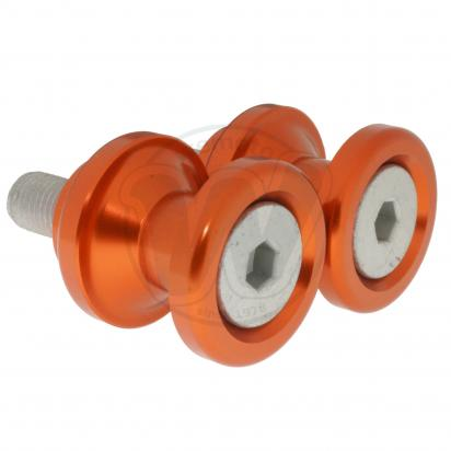 Motorcycle Swingarm Paddock Stand Spools / Bobbins M10 x 1.25 - Orange